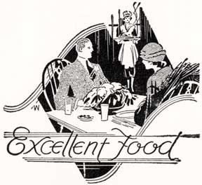 Excellent Food. [Waitress serving a couple in 1920s garb].: Letterpress Metal Cut Artist.