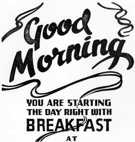 Good Morning, You Are Starting the Day Right with Breakfast at.: Letterpress Metal Cut Artist.