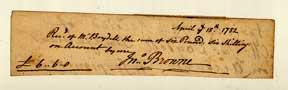 Autograph receipts to the publisher John Boydell from the engraver John Browne, A.R.A. and the ...