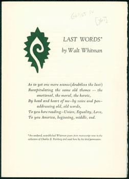 Last Words.: Whitman, Walt.