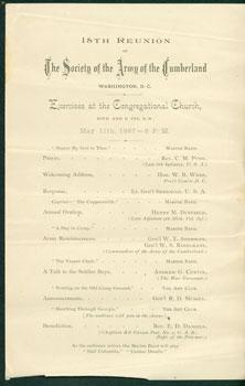 "Program for the ""18th Reunion of the Society of the Army of the Cumberland in Washington, D.C. ..."
