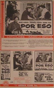 Por Eso. Movie poster. (Cartel de la Película).: Dirección: Rogelio A. González. Con ...