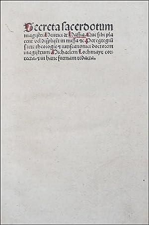 Secreta sacerdotum magistri Henrici de Hassia Que: HENRICUS de Langenstein