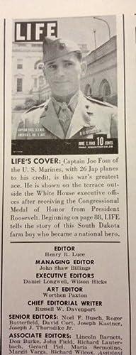 Life Magazine Vol. 14 No. 23 June 7, 1943 Captain Foss, U. S. M. C. America's No. 1 Ace