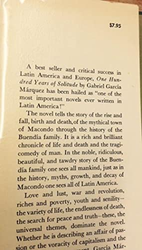 One Hundred Years of Solitude: Garcia Marquez, Gabriel