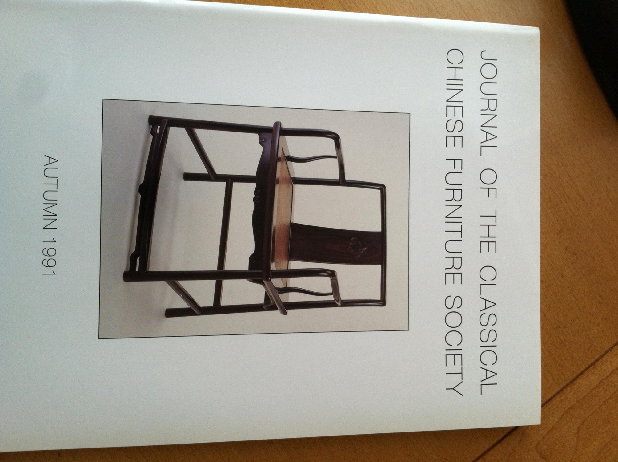 Journal Of The Classical Chinese Furniture Society Autumn 1991,Vol.1,No.