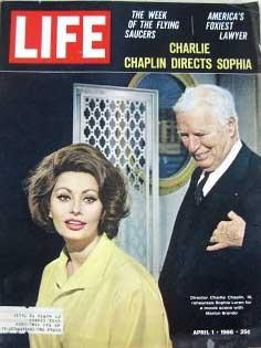 Life Magazine April 1, 1966 -- Cover: Charlie Chaplin and Sophia Loren