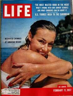 Life Magazine February 11, 1957 -- Cover: Midwinter Swimmer at Jamaican Resort