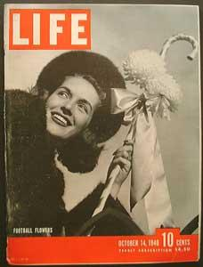 Life Magazine October 14, 1940 - Cover: Football Flowers (Jinx Falkenburg)