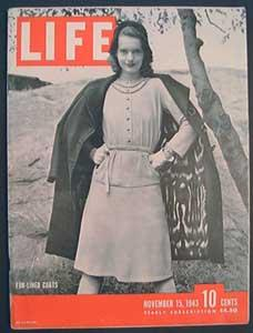 Life Magazine November 15, 1943 - Cover: Fur-lined Coats