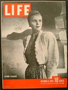 Life Magazine October 9, 1944 - Cover: Autumn Elegance
