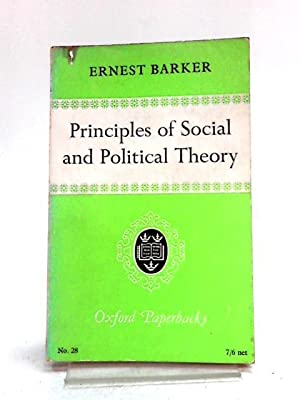 Principles of Social and Political Theory: Ernest Barker