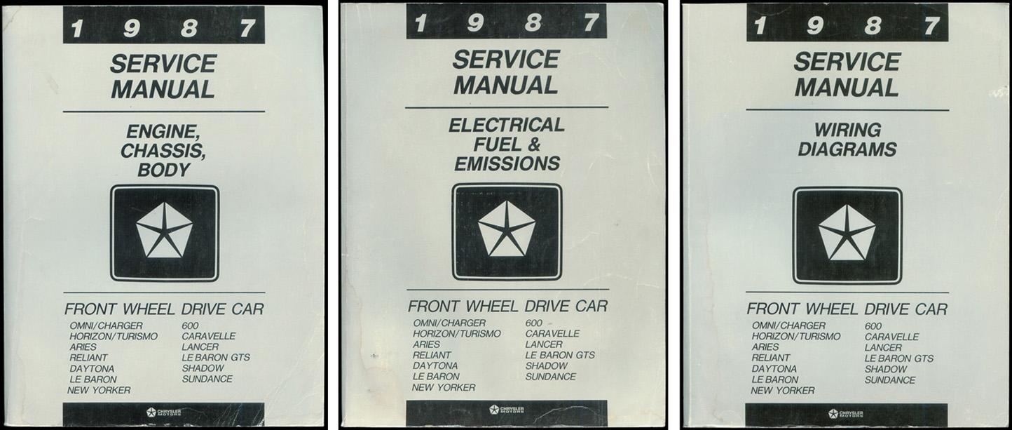1987 service manual: front wheel drive car (3 volume set:)  chrysler  corporation