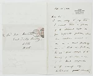 Autograph letter signed, to Frederick Howlett, concerning: DARWIN, Charles (1809-1882)
