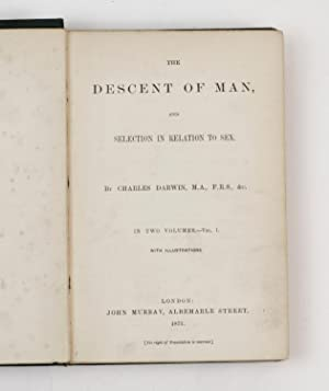 The descent of man, and selection in relation to sex.: DARWIN, Charles