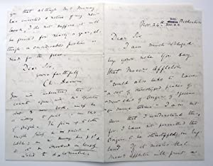 Autograph letter, signed, to Darwin's American publisher: DARWIN, Charles