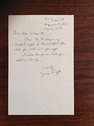 Autographed letter by James Wright