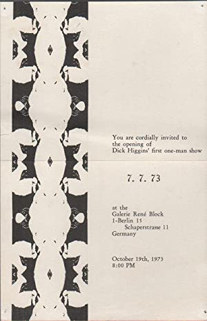 [INVITATION FOR DICK HIGGINS' FIRST SOLO EXHIBITION]