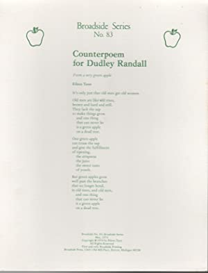 COUNTERPOEM FOR DUDLEY RANDALL: From a Very Green Apple (Broadside Series No. 83)
