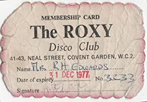 [First-Year Membership Card for The Roxy in Covent Garden]