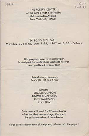 DISCOVERY '69 [Program for Reading/Event - Monday April 28, 1969 for The Poetry Center at the 92n...