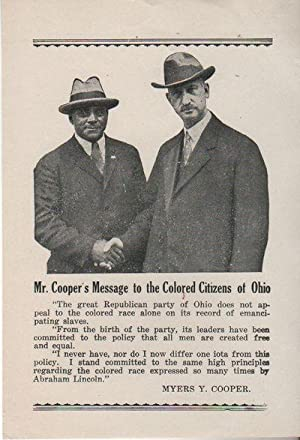 MR. COOPER'S MESSAGE TO THE COLORED CITIZENS OF OHIO [Broadside]