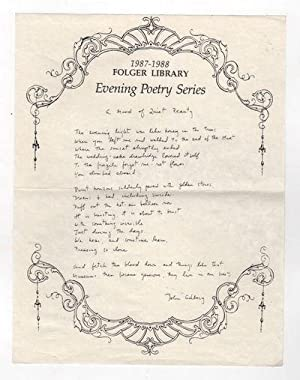 A MOOD OF QUIET BEAUTY / THE BLACK PRINCE [Folger Library Evening Poetry Series] [Set of Two]