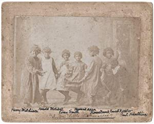 [Annotated Photograph of Seven Young Boys in Blackface and Dresses, Captioned on Front in Autogra...