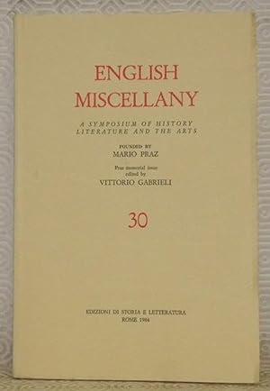 English Miscellany, n.° 30. A symposium of: PRAZ, Mario. -