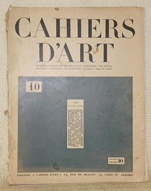 Cahiers d?Art, n.° 10, troisième année, 1928.: ZERVOS, Christian (Directeur).