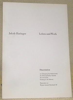 Jakob Haringer. Leben und Werk. Diss.: AMSTAD, Werner.