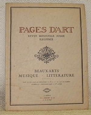 Pages d?Art. Revue mensuelle suisse illustrée. Beaux-Arts