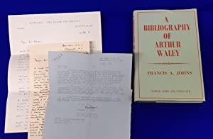 A Bibliography of Arthur Waley. [ with 3 related letters from the author ].