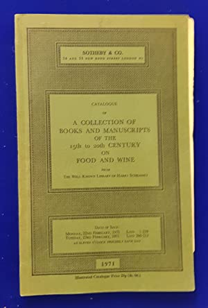 Catalogue of cookery books from the Schraemli collection. [ Sotheby & Co., auction catalogue, sal...
