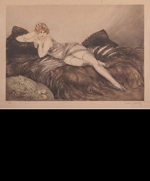 987cde5bbdd Aquatinte originale en couleurs  Femme à la  ICART Louis