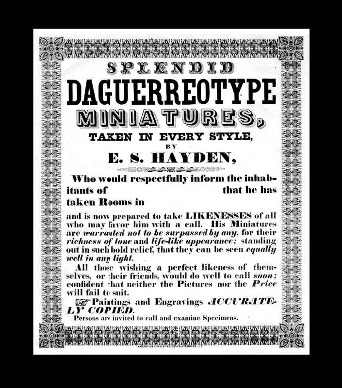 "Werbeplakat des amerikanischen Wanderdaguerreotypisten E.S. Hayden. ""Splendid: Daguerreotypie -"
