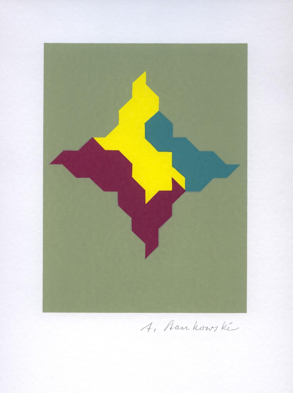 Ohne Titel -geometrische Komposition. Orig.-Farbserigraphie. Stankowski, Anton (deutscher Graphikdesigner, Maler u. Photograph. 1906 Gelsenkirchen -