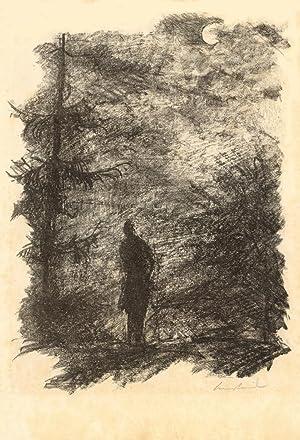 """Illustration zu Goethes Gedicht """"Dem aufgehenden Vollmonde """". Kreidelithographie aus der ..."""