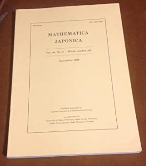 Mathematica Japonica: September 1993 - Vol. 38,: Editorial Committee of