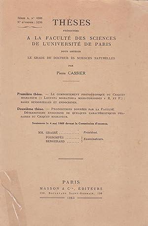 """Le comportement phototropique du criquet migrateur (""""Locusta: Cassier, Pierre"""
