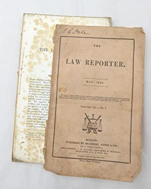 The Law Reporter - May 1844 Volume VII - No. I (SIGNED by Reuben C. Hale - Civil War Quartermaste...