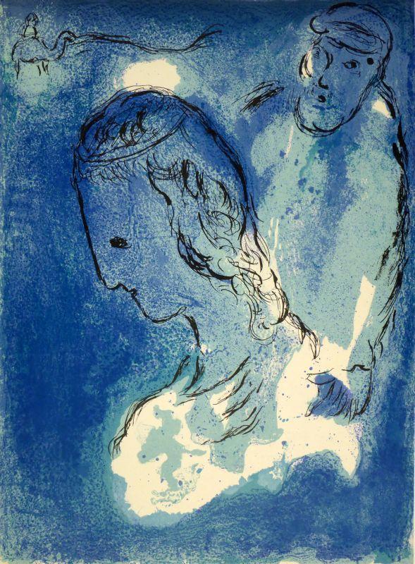 Abraham und Sarah. Farblithographie.: MARC CHAGALL (Witebsk