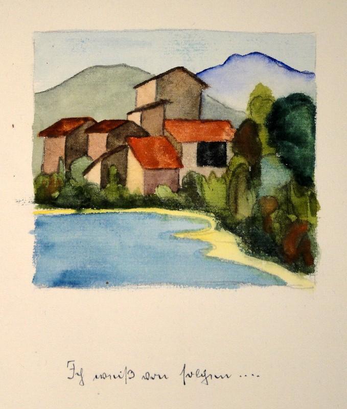 Aquarell über Bleistift-Vorzeichnung mit handschriftlichem Gedicht und: HERMANN HESSE (Calw