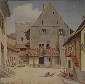 Basler Altstadt(?). Farblithographie. 1941. Unten links innerhalb der Darstellung im Stein signiert...
