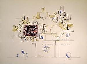 Braque Postcard. Farblithographie und Collage. 1970. Unten rechts in Bleistift signiert und datiert...