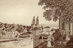 Zürich - Ville de la Soie. Seidenbild in Jacquard-Webtechnik. Das aus reiner Seide gewobene ...