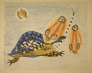 Schildkröte und Libelle. Farblithographie. Unten rechts innerhalb der Darstelllung in ...