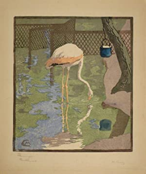Flamingo. Farbholzschnitt in Hellblau, Lilagrau, Rosa Blau, Grün, Schwarz. 1904. Unten rechts ...