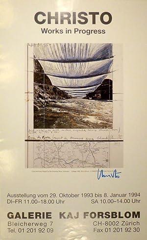 3 Christo-Plakate. 1. Works in Progress. Galerie Kaj Forsblom, Zürich, 1994. 69 : 42 cm. In ...