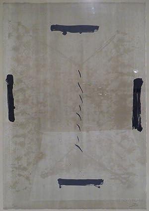 Quatre traces noires. Farblithographie in zwei Ocker und Schwarz. 1963. Unten rechts in Bleistift ...